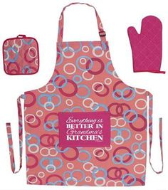ThisWear Kitchen Gifts for Nana Everything is Better in Nana's Kitchen Funny Aprons Cooking Apron Set with Oven Mitt and Pot Holder Funny Apron Pink Circle 50th Birthday Gifts For Woman, Retirement Gifts For Women, Best Birthday Gifts, Funny Birthday, 60th Birthday, Funny Aprons, Bbq Apron, Fun At Work, Grandma Gifts