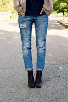 Wedge booties + distressed BF jeans