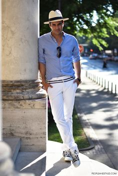 0a10d2676c5c2 Ante Vrban - An architect summer style with panama hat  mensfashion   panamahat  whitepants