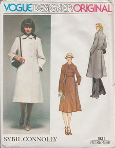 Vogue 1521 / Vintage Designer Sewing Pattern By Sybil Connolly / Coat / Size 10