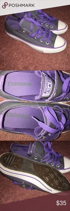 Purple Converse!! Purple gray and white converse in great condition Converse Shoes Sneakers