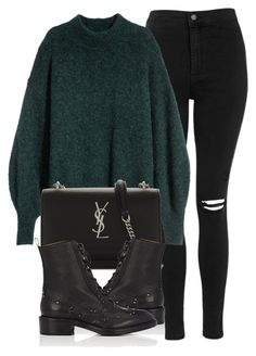 """Untitled #6956"" by laurenmboot ❤ liked on Polyvore featuring Topshop, Yves Saint Laurent and Sartore"