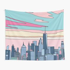 City sunset Wall Tapestry, City Buildings For Living Room Bedroom Decor Tapestry Bedroom Murals, Living Room Bedroom, Bedroom Decor, Dorm Room, Tapestry Design, Wall Tapestry, Vivid Colors, Colours, Thing 1
