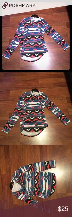 Aztec printed hoodie Very very stylish. Incredibly comfortable. Can wear with shorts or pants. Perfect for winter coming up. Bought at pacsun. Quiksilver Jackets & Coats Lightweight & Shirt Jackets