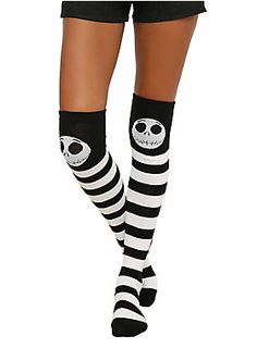 <p>Black over-the-knee socks from <i>The Nightmare Before Christmas</i> with striped Jack Skellington themed designs.</p> <ul> <li>One size fits most</li> <li>75% acrylic; 23% polyester; 2% spandex</li> <li>Wash warm; dry low</li> <li>Imported</li> </ul>