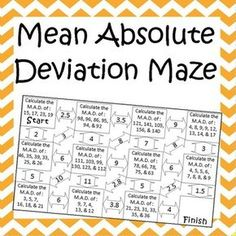 Mean Absolute Deviation (MAD) Foldable   Math, School and Math notes