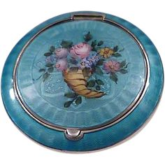 Vintage 1920s sterling silver blue guilloche enamel compact