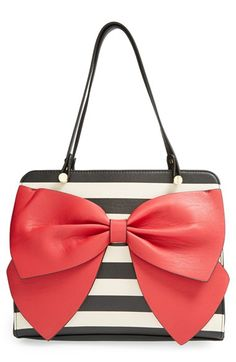 Striped bow tote by Betsey Johnson