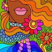 Girl with flowing hair and flowers