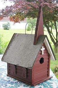 Wonderful Large Church Birdhouse Bird House Amish Made New Easy Clean Out Red | eBay