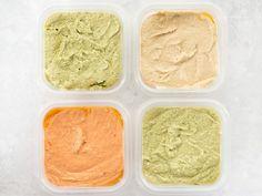 Easy Homemade Hummus Recipe - Four Flavors! Healthy Vegetable Recipes, Good Healthy Recipes, Vegetarian Recipes, Homemade Hummus, Homemade Pasta, Hummus Flavors, Healthy Potatoes, Low Calorie Desserts, Happy Vegan
