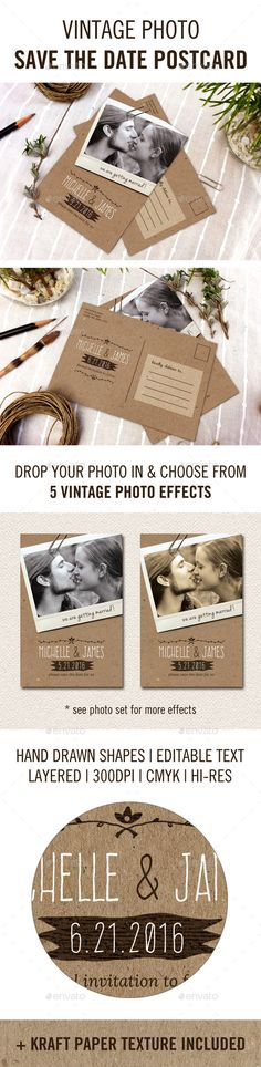 Vintage Photo Save the Date Postcard — Photoshop PSD #paper clip #instant photo • Available here → https://graphicriver.net/item/vintage-photo-save-the-date-postcard/11025836?ref=pxcr