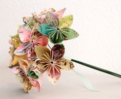 Origami Paper Flower Bouquet - pink green and yellow. $39.00, via Etsy.