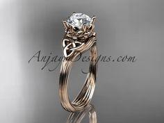 14kt rose gold diamond celtic trinity knot wedding ring, engagement ring CT7240