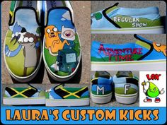 Custom Adventure Time shoes and Regular show shoe combination.