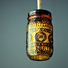 Hand Painted Mason Jar Lantern Goldenrod Tinted Glass - henna patterns