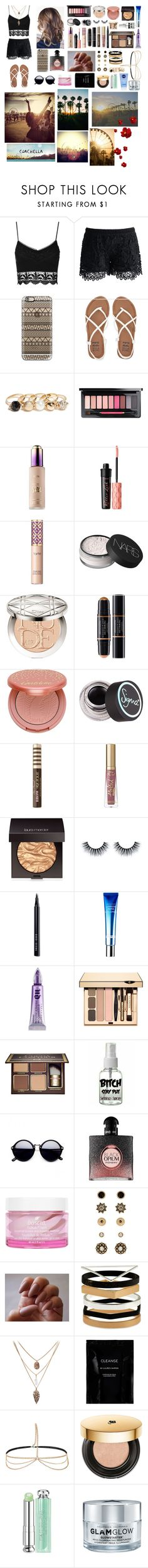 """Coachellaaaa"" by ajlamutevelic ❤ liked on Polyvore featuring Topshop, Chicwish, Casetify, Billabong, GUESS, tarte, Benefit, NARS Cosmetics, Christian Dior and Sigma"