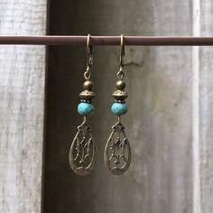 Turquoise Earrings, Bohemian Earrings, Bohemian Jewelry, Brass Earrings, Boho jewelry, Boho Earrings, Rustic Earrings, Gift for Her, Ethnic by KesaliSkye on Etsy