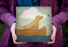 CANOE RIDE Black Dog Yellow Red and Brown too   by nativevermont, $55.00