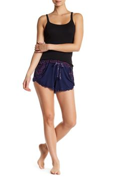 Jersey Knit Shorts with Overlapping Front