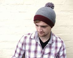 Pom pom beanie, mens burgundy grey bobble hat, guys winter accessory, menswear. on Etsy, £22.00