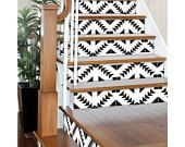 "Stair Riser Stickers - Removable Stair Riser Tile Decals - Zigzag Pack of 6 in Black - Peel & Stick Stair Riser Deco Strips - 48"" long"