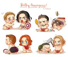 After a fight and some serum the avengers,Bucky and Loki are little k… The Avengers, Avengers Humor, Baby Avengers, Fan Art Avengers, Avengers Black Widow, Funny Marvel Memes, Marvel Jokes, Baby Loki, Marvel Dc Comics