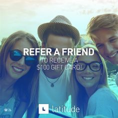 Branded graphic encouraging students to refer their friends to #livelatitude! #studenthousing #socialmedia #design