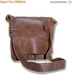 Mens Gift Messenger Bag Mens Leather Bag Unisex Leather by AdaBags