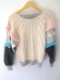 Angora Geometric Circle Stripe Sweater / 80s