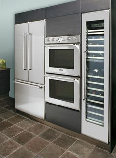 Refrigerator, Oven, and Wine Cooler on One Wall