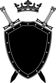 """Buy the royalty-free Stock vector """"Shield, swords and crown. vector illustration"""" online ✓ All rights included ✓ High resolution vector file fo. Free Vector Images, Vector Art, Crown Stencil, Shield Drawing, Rune Tattoo, Shield Tattoo, Black Background Images, Greek Art, Banner Printing"""