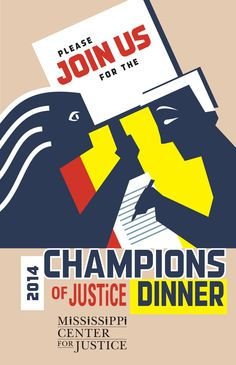 Invitation cover design for Mississippi Center for Justice. Bronze winner in the Summit international Awards.