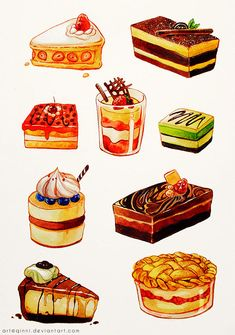 Kho nh anime v my th linh tinh - Sweet Cake Cake Drawing, Food Drawing, Food Menu, A Food, Food And Drink, Desserts Drawing, Cute Food Art, Dessert Illustration, Chibi Food