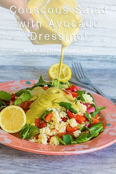 This vegan couscous salad is full of crisp vegetables and the creamy avocado dressing takes it to a new level!  This Mediterranean inspired recipe is healthy, easy to make, and perfect for lunch or dinner! #healthycouscoussalad #greekcouscoussalad #mediterraneancouscoussalad #vegancouscoussalad #vegandressingrecipe #vegancreamydressing