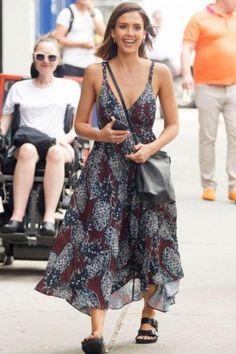 Jessica Alba wearing Elena Ghisellini Gia Bag, Endless Summer Hannah Midi Dress and Birkenstock Monterey Leather Sandal