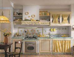 Risultati immagini per lavello cucina stile country con tendine di stoffa