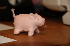 pink piglet of felt