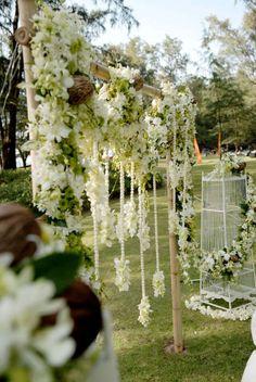 Phuket decorations, altar decorations, arches, flowers, garland, destination wedding, thailand, white, green, garden, romantic.