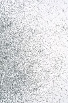 Tom Friedman Untitled, 1997 Detail Ink on paper 54 x 42 ½ inches. A drawing of an accumulation of dots connected by lines and arrows. Would look amazing in an Architects office.