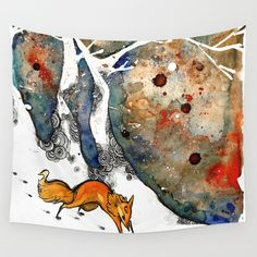 The Winter Fox Wall Tapestry