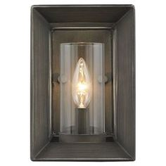 "Steel wall sconce with a beveled back plate and gunmetal bronze finish.   Product: Wall sconceConstruction Material: Steel and glassColor: Gunmetal bronzeAccommodates: (1) 60 Watt incandescent type B bulb - not includedDimensions: 8.75"" H x 5.88"" W x 5.88"" D"