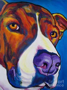 pitbull art   Pit Bull - Eric Painting - Pit Bull - Eric Fine Art Print