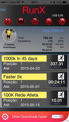 RunX: Motivation and health. Find friends with same characteristics and invite them to a virtual competition.
