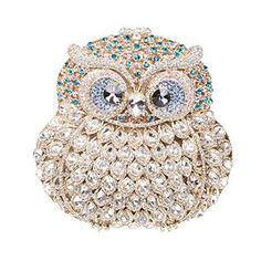 Celestte Owl Crystal Luxury Hard Case Purse Women Handbag Clutches with Chain *** Continue to the product at the image link.