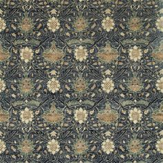 Montreal Velvet Fabric is one of the most woven oriental-styled fabrics produced. Full of detail, yet understated, this sumptuous velvet depicts a grid of large floral motifs in cream and brown, set against a indigo ground. Order Morris & Co samples today Green Ground, Painted Rug, Pattern Matching, Made To Measure Curtains, Curtains With Rings, Velvet Cushions, Roman Blinds, Carpet Design, Curtain Fabric