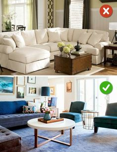 15 Living Room Design Mistakes and Solutions on How to Fix Them Living Room Furniture Arrangement, Living Room Decor, Bedroom Decor, Interior Design Living Room, Living Room Designs, Large Furniture, Small Living Rooms, Cushions On Sofa, Home Decor