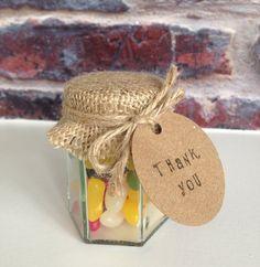 Jelly bean wedding favors Rustic sweet jars by RomanceandRust