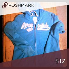 Teal Aeropostale hoodie Zipper front, with logo on front, drawstring hood closure, pockets Aeropostale Tops Sweatshirts & Hoodies