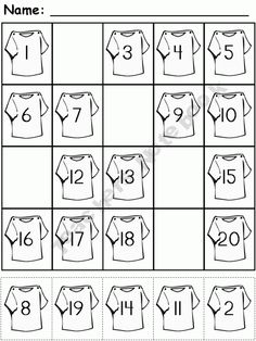 FREE - cut and paste - Number Fill In 1-20
